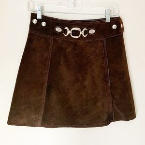 Vintage suede brown mini skirts 1990s 90s small